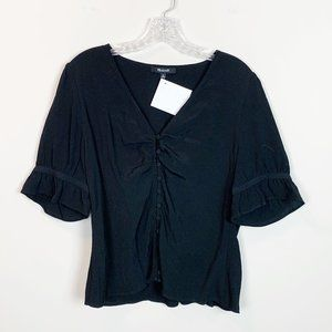 Madewell | ruched front short sleeve black blouse